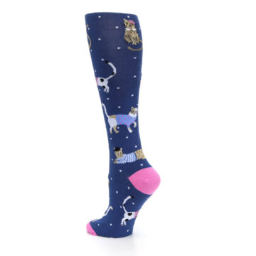 Image of Navy Business Cat-sual Women's Knee High Sock (side-2-back-14)