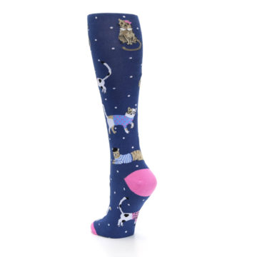 Image of Navy Business Cat-sual Women's Knee High Sock (side-2-back-15)
