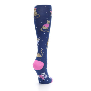 Image of Navy Business Cat-sual Women's Knee High Sock (side-1-back-21)