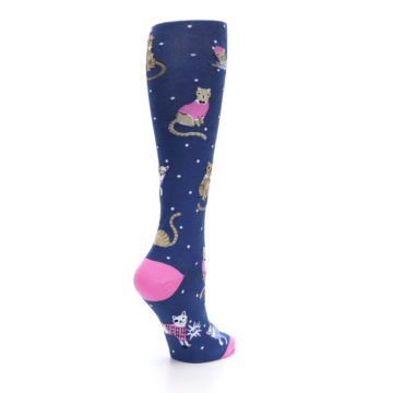 Image of Navy Business Cat-sual Women's Knee High Sock (side-1-back-22)