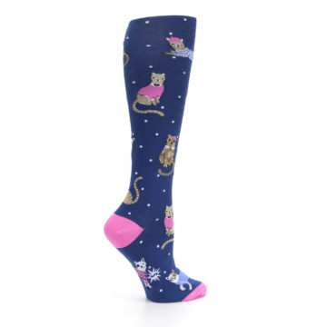 Image of Navy Business Cat-sual Women's Knee High Sock (side-1-24)