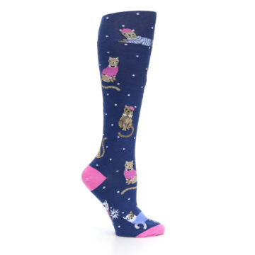 Image of Navy Business Cat-sual Women's Knee High Sock (side-1-25)