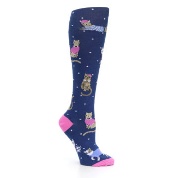 Image of Navy Business Cat-sual Women's Knee High Sock (side-1-26)