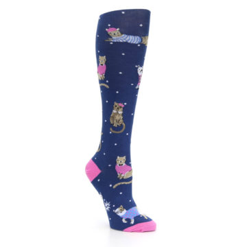 Image of Navy Business Cat-sual Women's Knee High Sock (side-1-27)