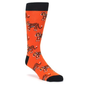 Orange and Balck Men's Novelty Dress Socks by Sock it to Me