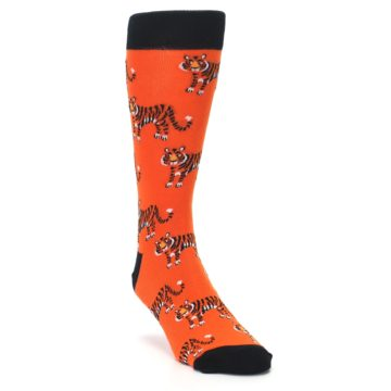 Image of Orange Tiger Men's Dress Socks (side-1-front-02)