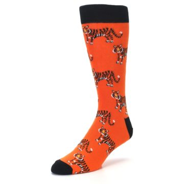 Image of Orange Tiger Men's Dress Socks (side-2-front-08)