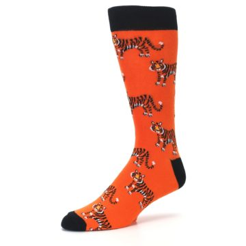 Image of Orange Tiger Men's Dress Socks (side-2-09)