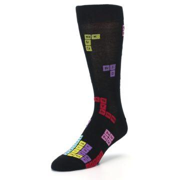 Image of Black Chemistry Elements Men's Dress Socks (side-2-front-08)