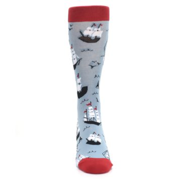 Image of Sailing Ship Shape Men's Dress Socks (front-04)