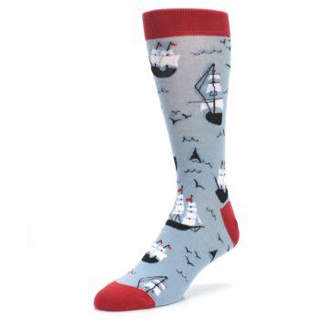 Image of Sailing Ship Shape Men's Dress Socks (side-2-front-08)