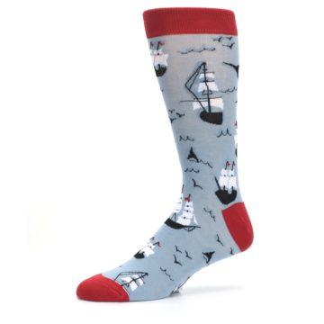 Image of Sailing Ship Shape Men's Dress Socks (side-2-10)