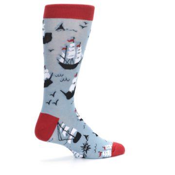 Image of Sailing Ship Shape Men's Dress Socks (side-1-23)