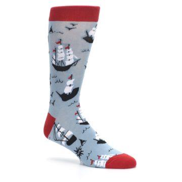Image of Sailing Ship Shape Men's Dress Socks (side-1-26)