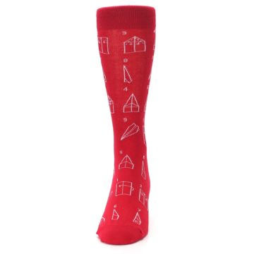 Image of Red Paper Airplane Instructions Men's Dress Socks (front-05)