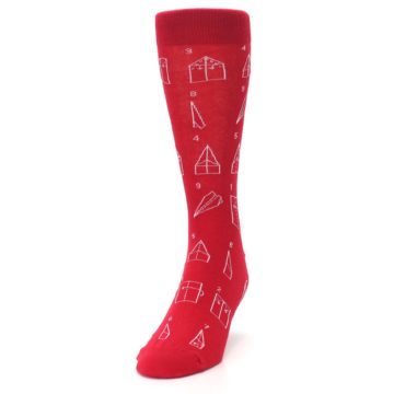 Image of Red Paper Airplane Instructions Men's Dress Socks (side-2-front-06)