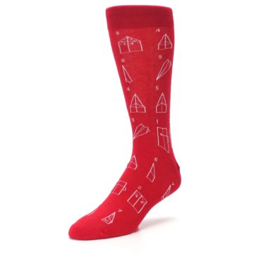 Image of Red Paper Airplane Instructions Men's Dress Socks (side-2-front-08)