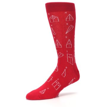 Image of Red Paper Airplane Instructions Men's Dress Socks (side-2-09)
