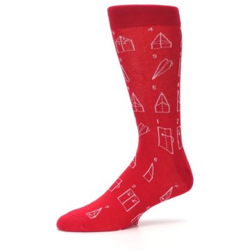 Image of Red Paper Airplane Instructions Men's Dress Socks (side-2-10)