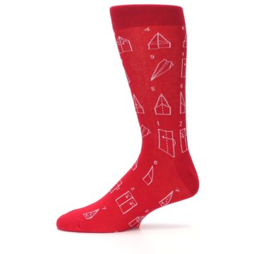 Image of Red Paper Airplane Instructions Men's Dress Socks (side-2-11)