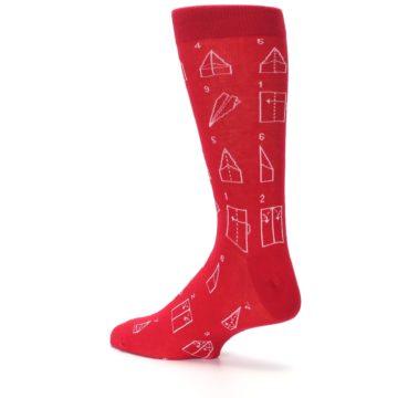 Image of Red Paper Airplane Instructions Men's Dress Socks (side-2-back-14)