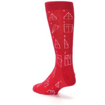 Image of Red Paper Airplane Instructions Men's Dress Socks (side-2-back-15)