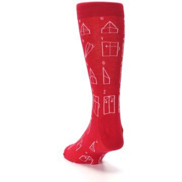 Image of Red Paper Airplane Instructions Men's Dress Socks (side-2-back-16)