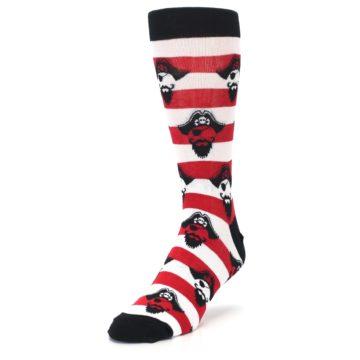 Image of Red Pirate Argh Stripey Men's Dress Socks (side-2-front-07)