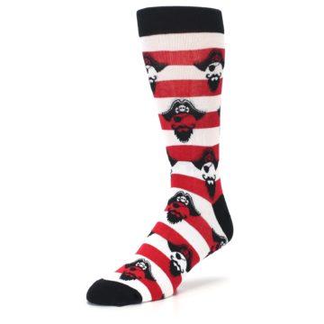 Image of Red Pirate Argh Stripey Men's Dress Socks (side-2-front-08)