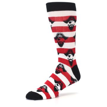 Image of Red Pirate Argh Stripey Men's Dress Socks (side-2-09)