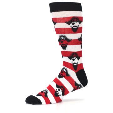 Image of Red Pirate Argh Stripey Men's Dress Socks (side-2-10)