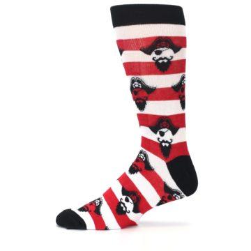 Image of Red Pirate Argh Stripey Men's Dress Socks (side-2-11)