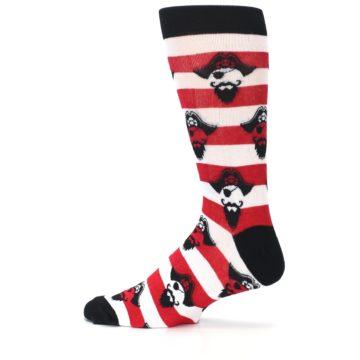 Image of Red Pirate Argh Stripey Men's Dress Socks (side-2-12)