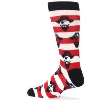 Image of Red Pirate Argh Stripey Men's Dress Socks (side-2-13)