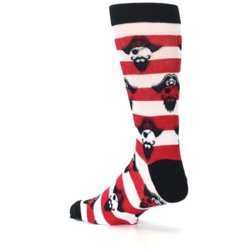 Image of Red Pirate Argh Stripey Men's Dress Socks (side-2-back-14)
