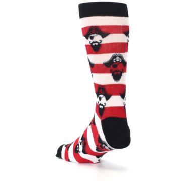 Image of Red Pirate Argh Stripey Men's Dress Socks (side-2-back-15)