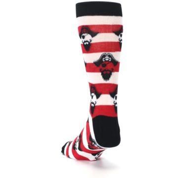 Image of Red Pirate Argh Stripey Men's Dress Socks (side-2-back-16)