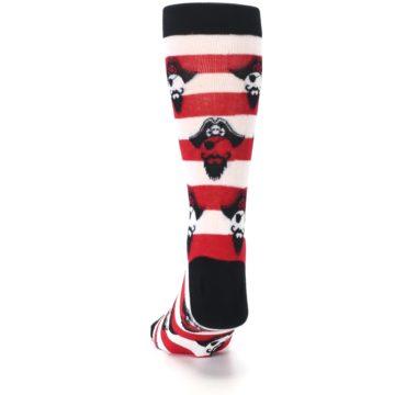 Image of Red Pirate Argh Stripey Men's Dress Socks (back-17)