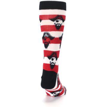 Image of Red Pirate Argh Stripey Men's Dress Socks (back-19)