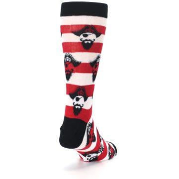 Image of Red Pirate Argh Stripey Men's Dress Socks (side-1-back-20)