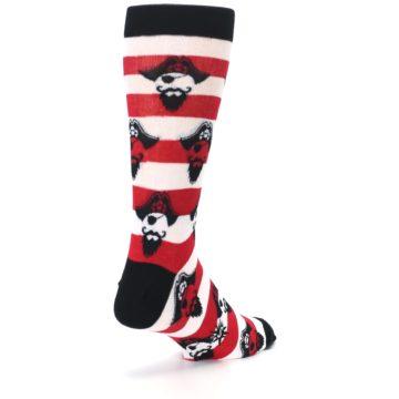 Image of Red Pirate Argh Stripey Men's Dress Socks (side-1-back-21)