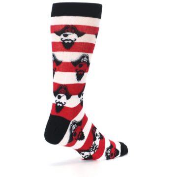 Image of Red Pirate Argh Stripey Men's Dress Socks (side-1-back-22)
