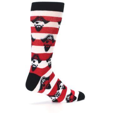 Image of Red Pirate Argh Stripey Men's Dress Socks (side-1-23)