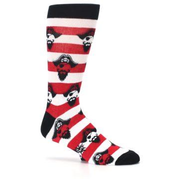 Image of Red Pirate Argh Stripey Men's Dress Socks (side-1-25)