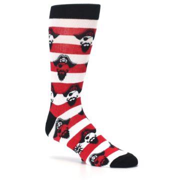 Image of Red Pirate Argh Stripey Men's Dress Socks (side-1-26)