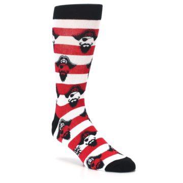 Image of Red Pirate Argh Stripey Men's Dress Socks (side-1-27)