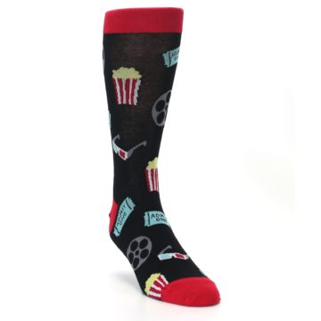 Image of Movie Theater Reel & Popcorn Men's Dress Socks (side-1-front-02)