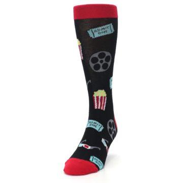Image of Movie Theater Reel & Popcorn Men's Dress Socks (side-2-front-06)