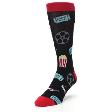 Image of Movie Theater Reel & Popcorn Men's Dress Socks (side-2-front-07)