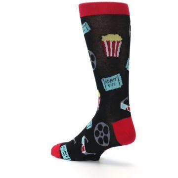 Image of Movie Theater Reel & Popcorn Men's Dress Socks (side-2-back-14)